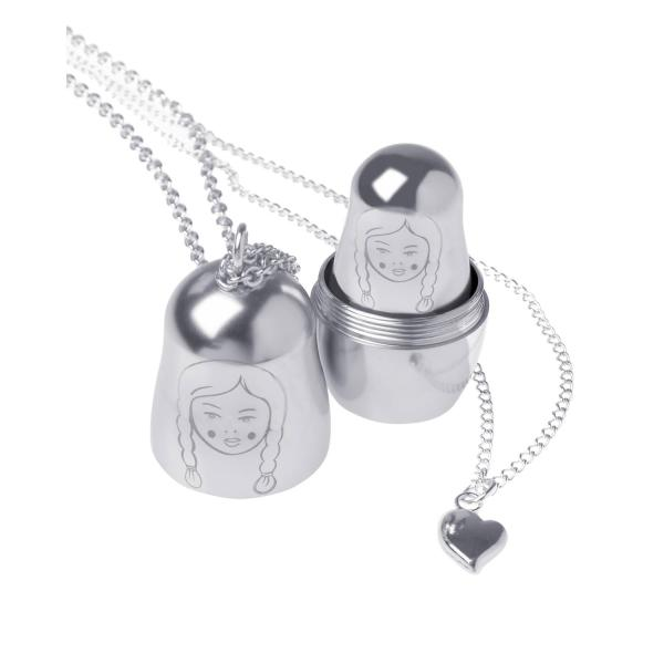 silver nesting doll necklace