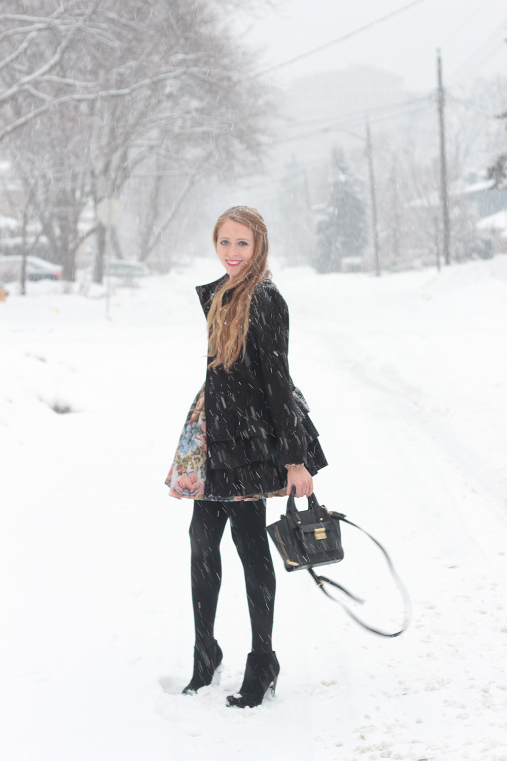 snowstorm black wool coat