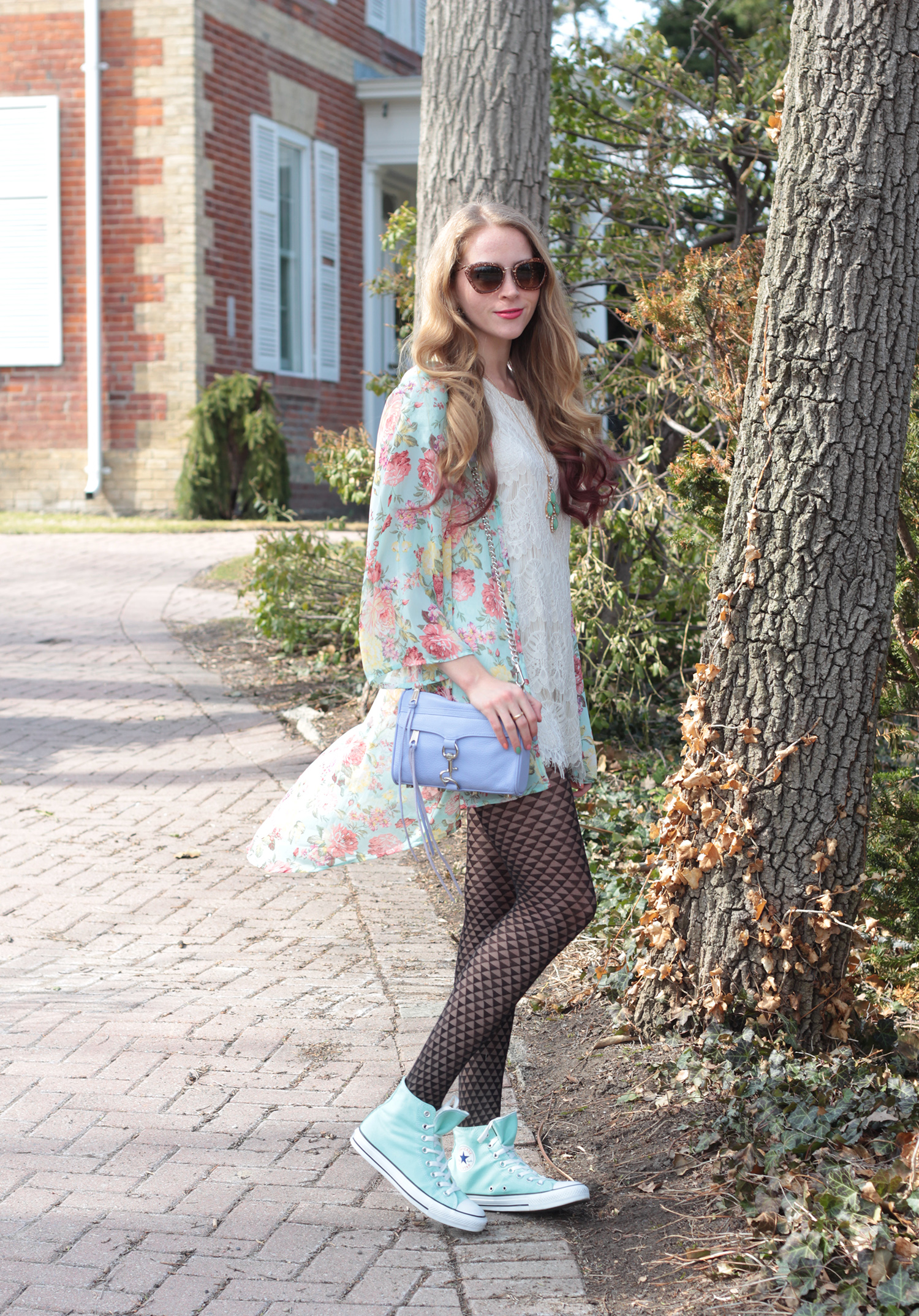 spring floral kimono and mint converse outfit idea