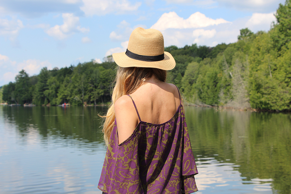 straw fedora off the shoulder blouse