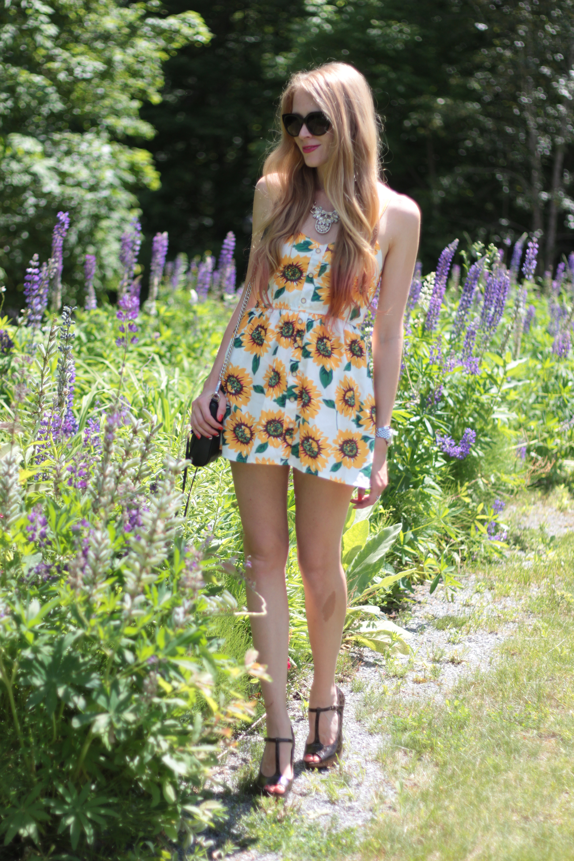 sunflower print romper outfit
