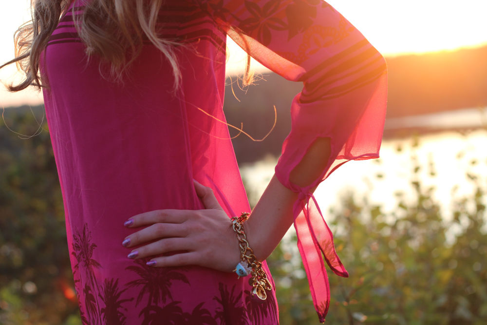 sunset palm tree dress
