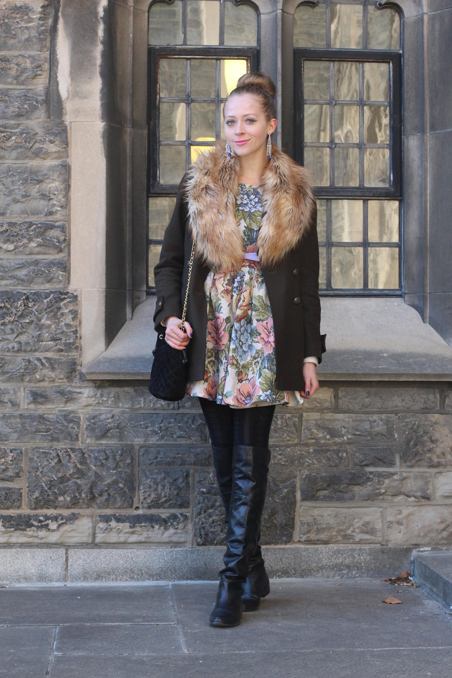tapestry floral dress otk boots
