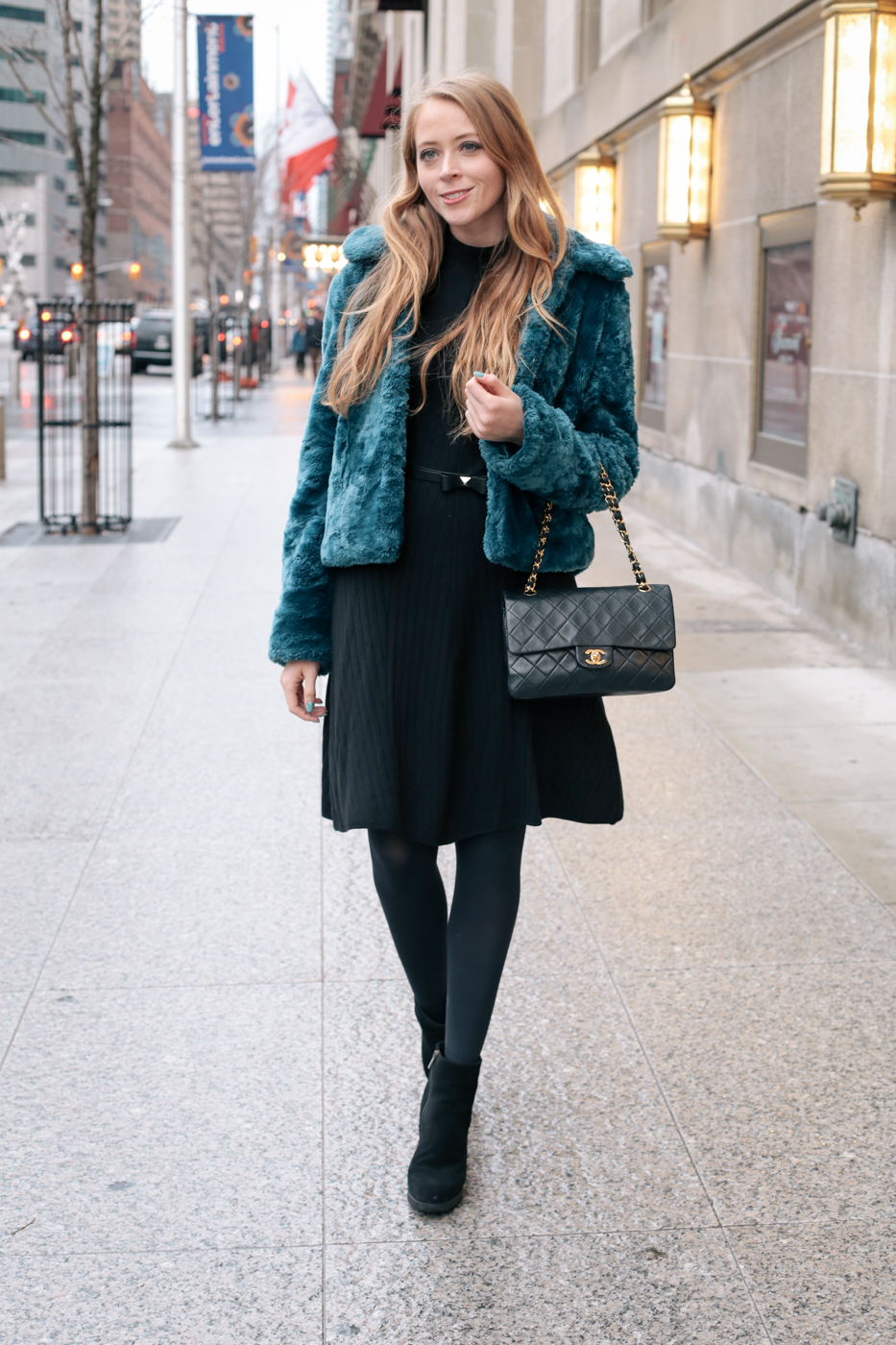 teal faux fur coat (5 of 8)