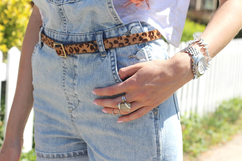 topshop denim overalls leopard belt