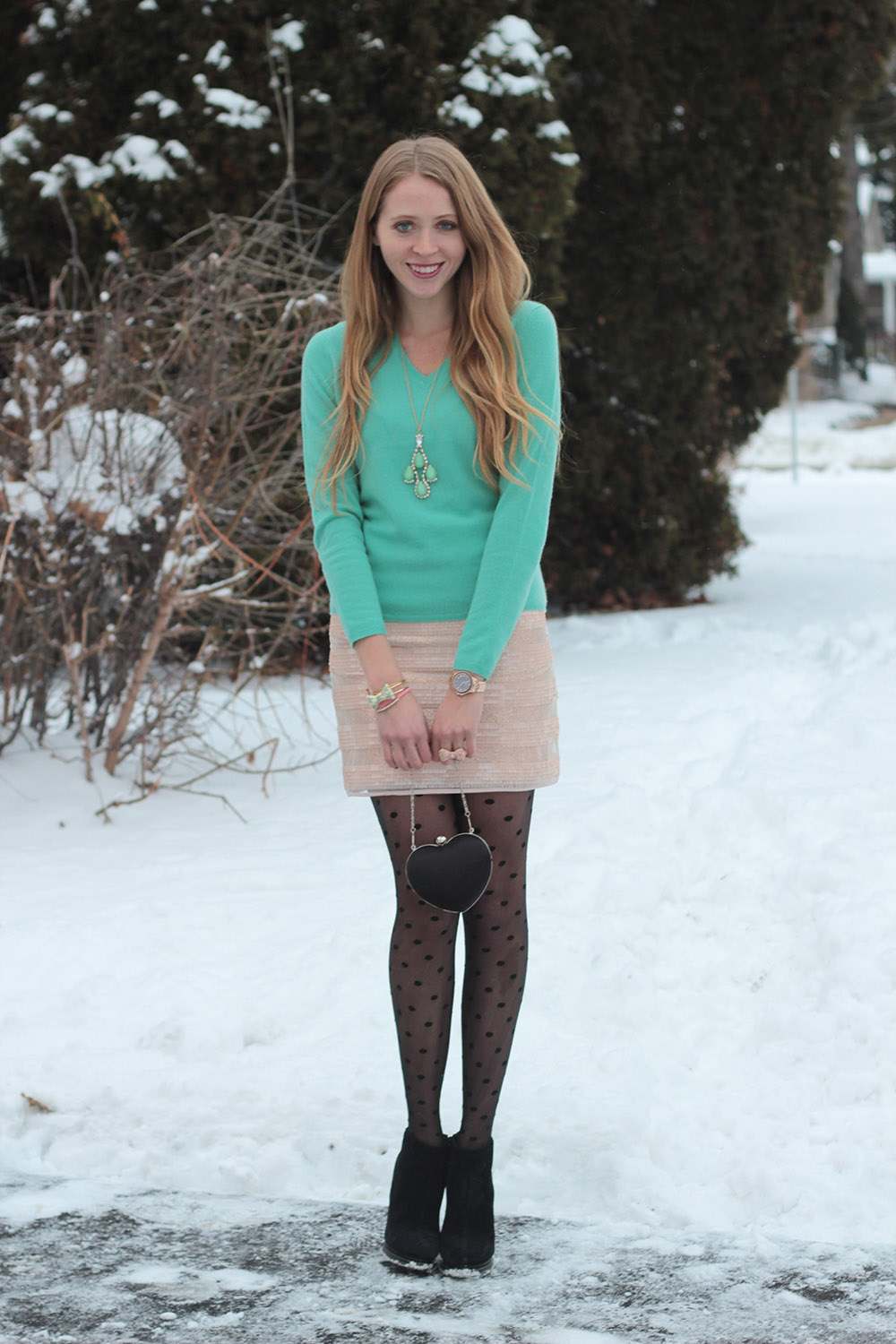 turquoise cashmere dotted tights