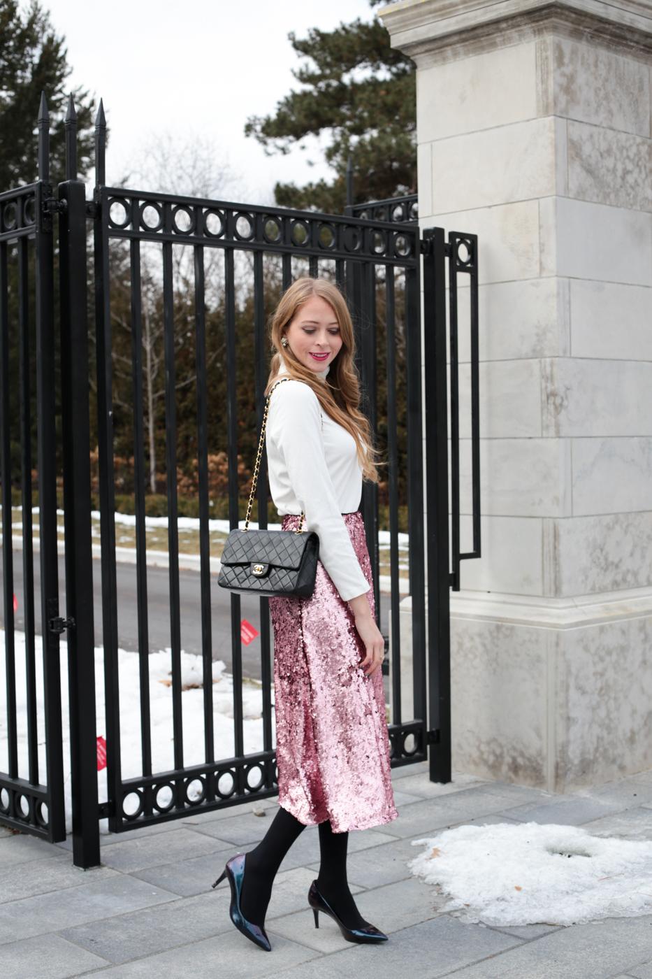 turtleneck pink sequin skirt chanel bag (3 of 8)