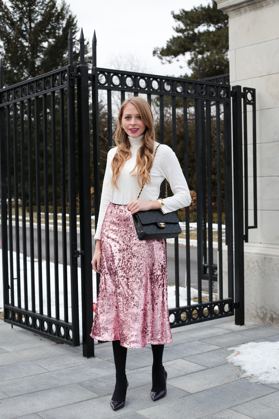 Valentine's Day Outfit Idea: Pink Sequin skirt