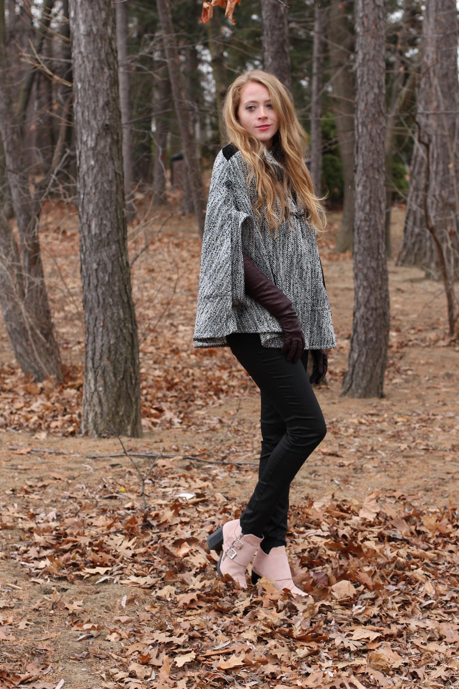 tweed cape pink booties