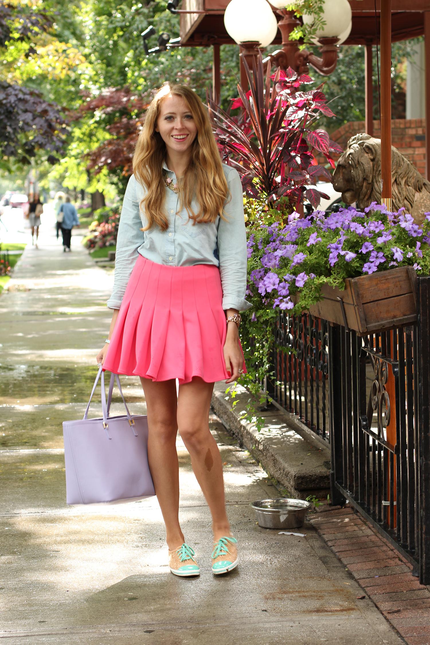 twirly pink skirt cork keds sneakers