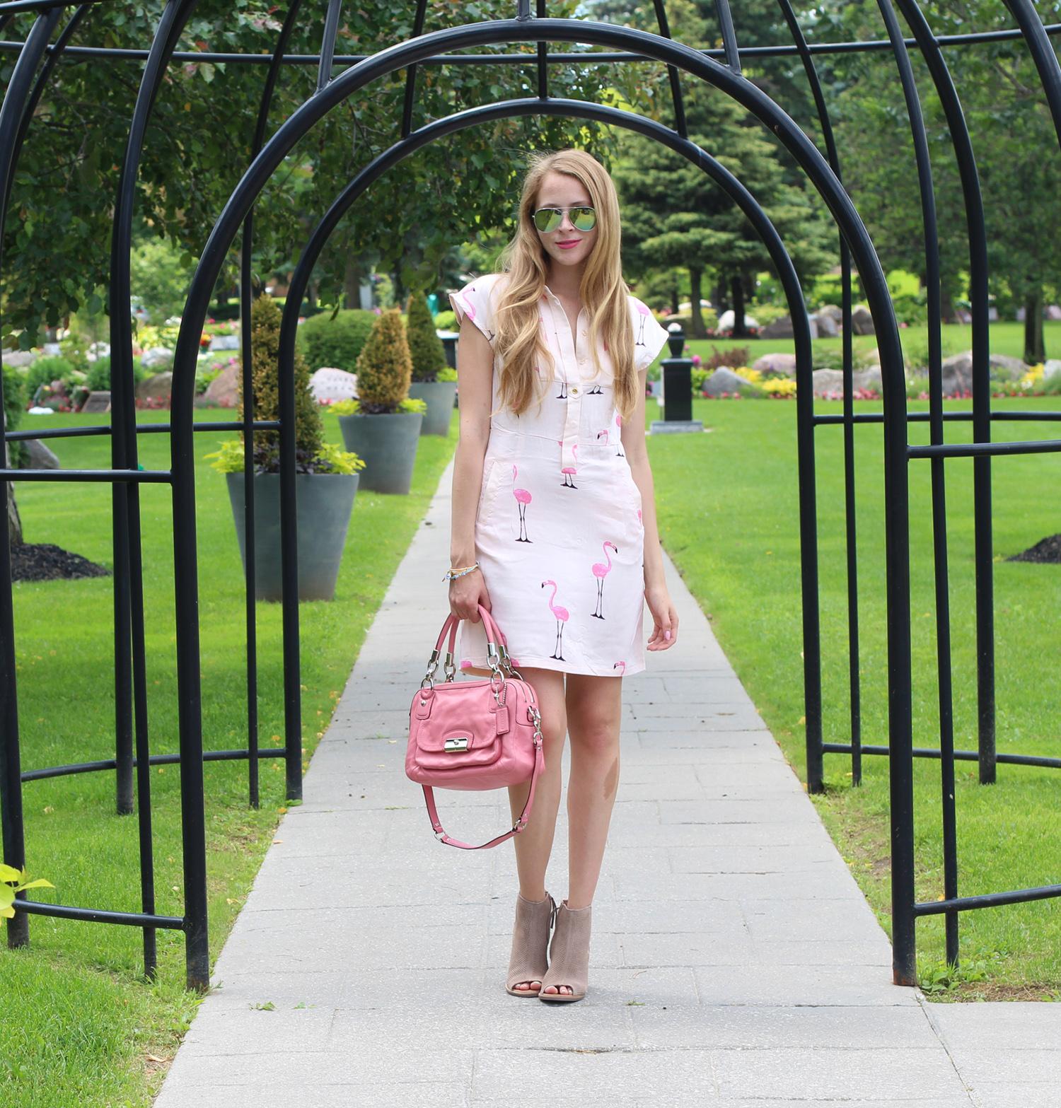 Flamingo print dress + TOMS