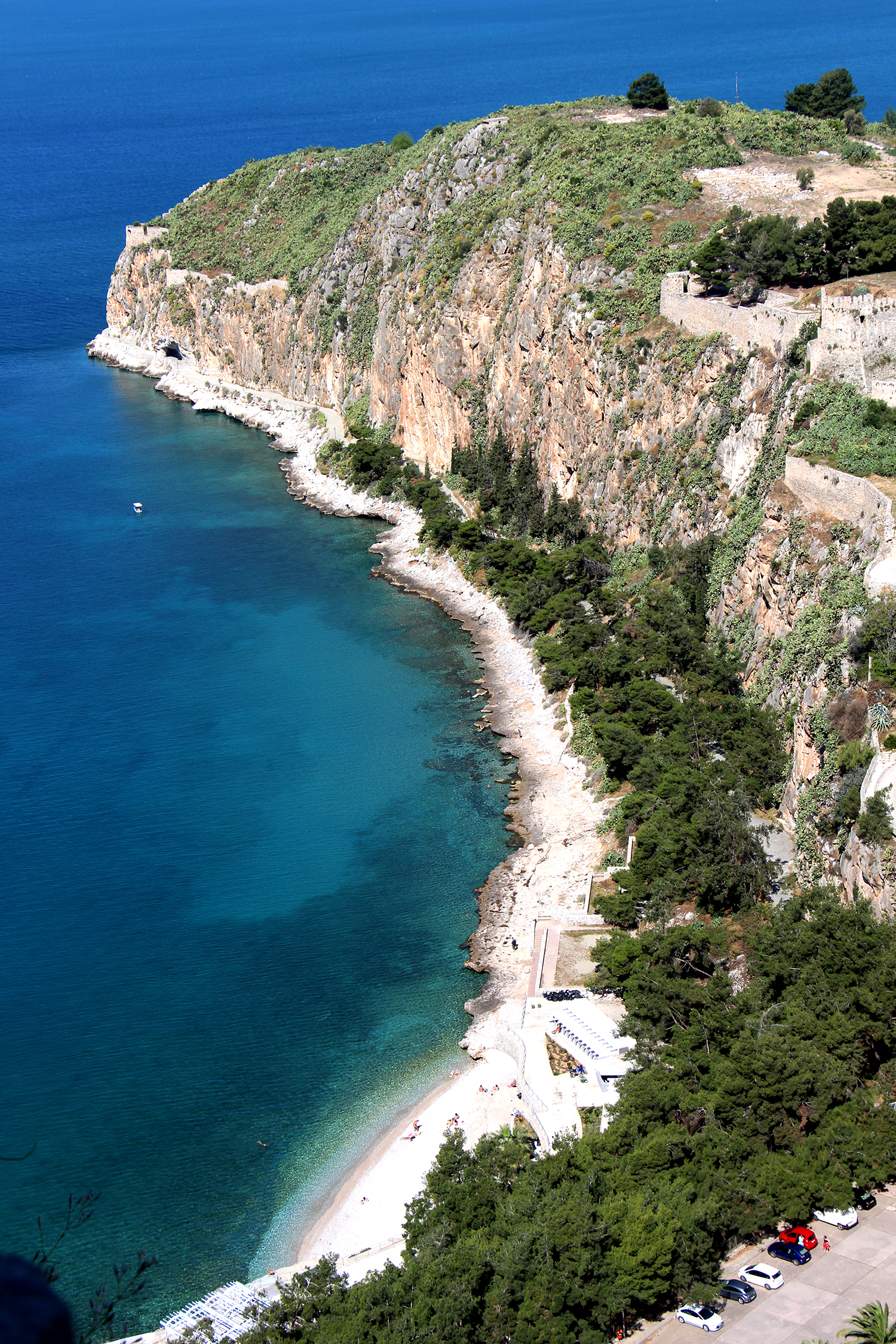 view of bay arvaniata beach from nafplio palamidi