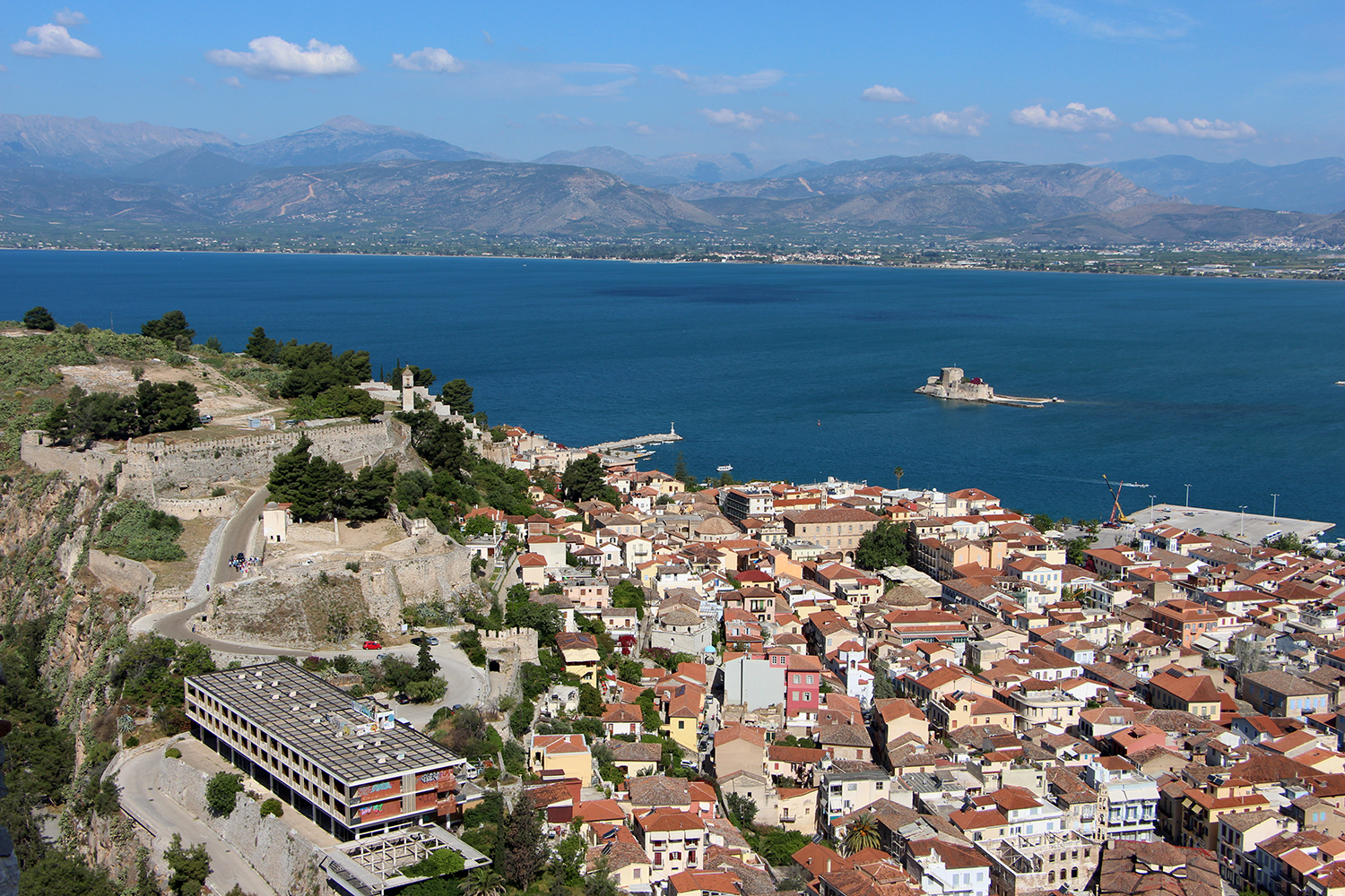 view of nafplio from palamidi fortress