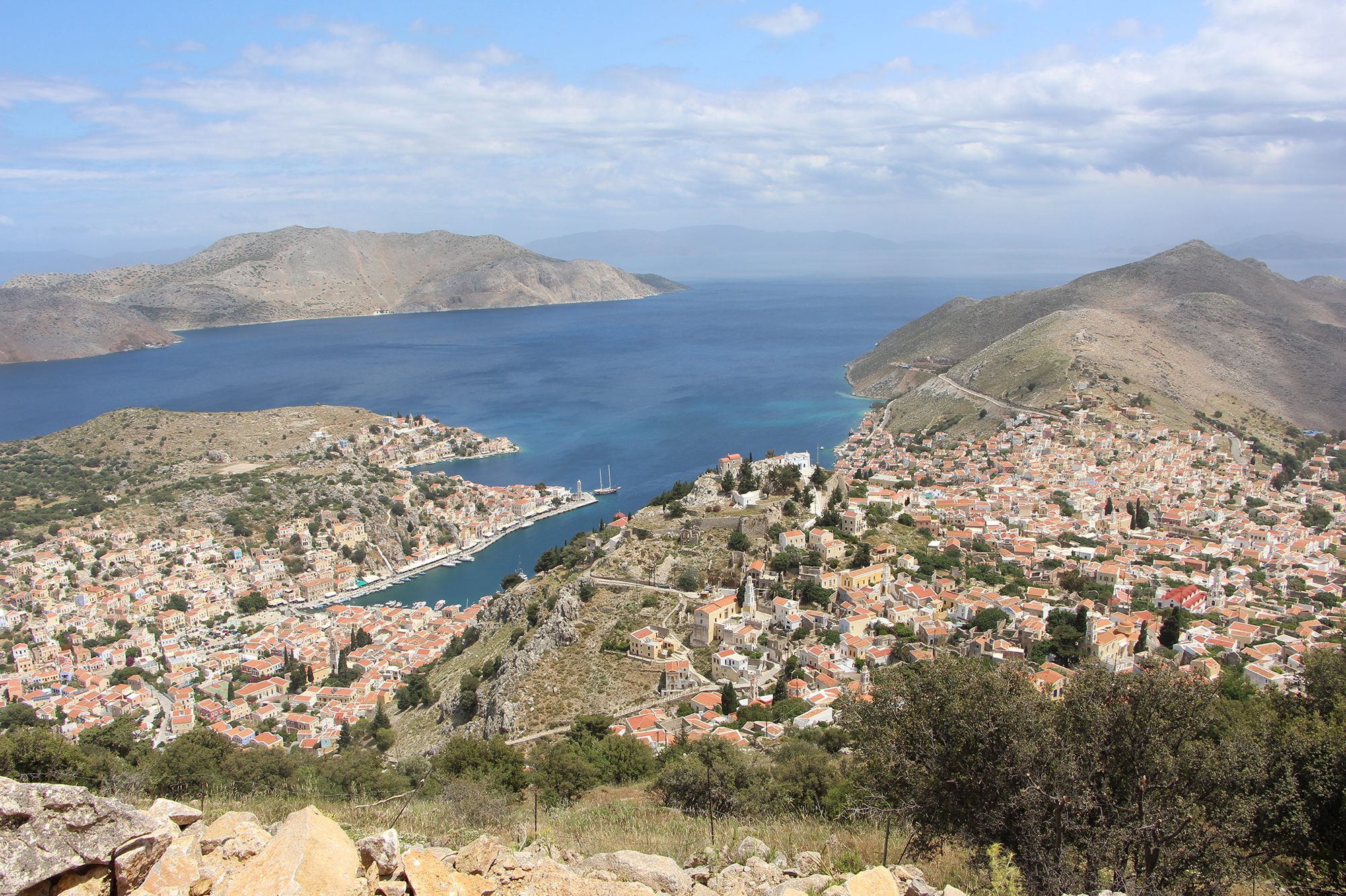 view of symi island greece from above