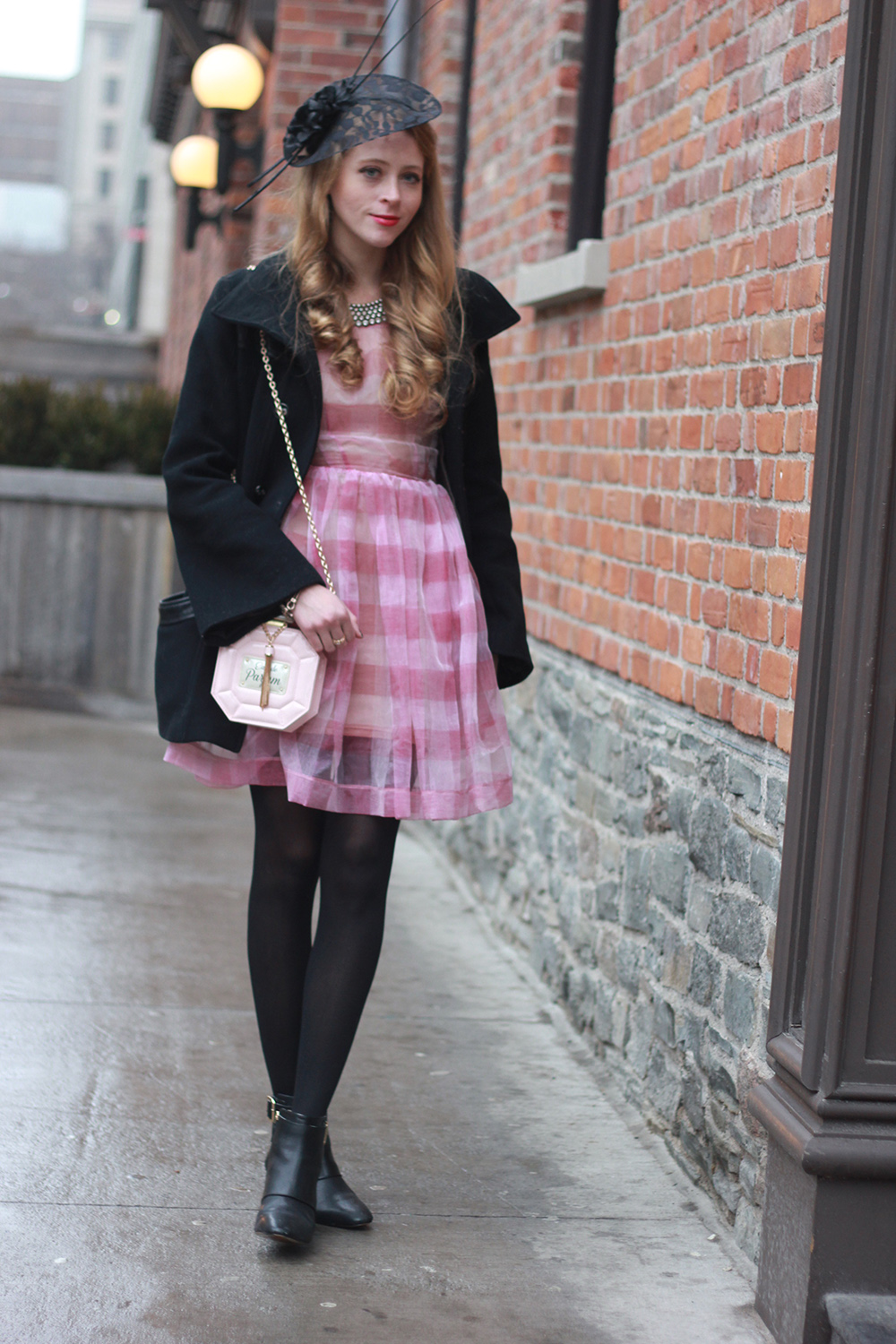 vintage hat black coat pink striped dress